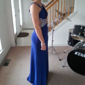 Bejeweled, Crisscross Halter Prom Dress